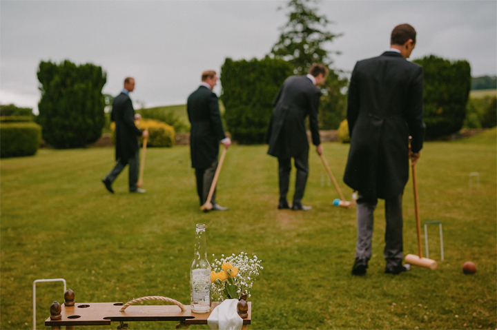 mark Bowen photography at a wind down wedding at Huntshamm Court - grooms croquet
