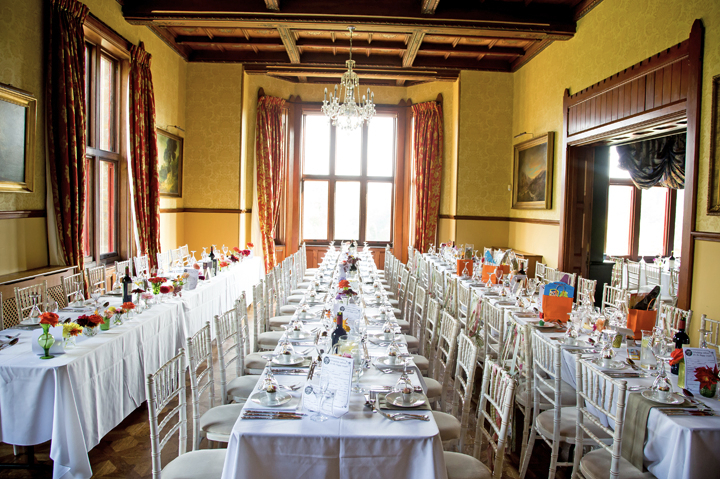 huntsham court - yellow room - 3 long trestles